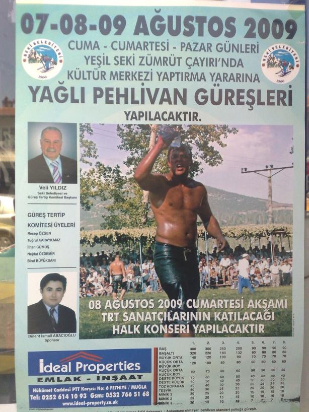 Cartel de Lucha Turca. Con foto del patrocinador